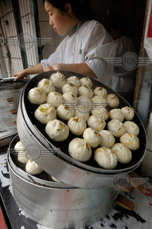 Steamed dumplings stall at lunch time.
