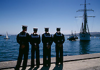 The brigantine schooner Esmeralda arrives in the port of Valparaiso. The ship returned through the Panama Canal after being out on a training mission for 7 months. They sailed to Europe near Norway, Poland, Finland, Denmark, Sweden, Portugal, Spain, England, France, Mexico and the United States. The ship had 336 officers and crew-95 Marine cadet officers, 72 Navy.