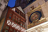 Gros Horloge Clock, Illuminated at Night in Rouen, Normandy, France