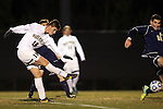 24 November 2013: Wake Forest's Ian Harkes takes a shot. The Wake Forest University Demon Deacons played the Naval Academy Midshipmen at Spry Stadium in Winston-Salem, NC in a 2013 NCAA Division I Men's Soccer Tournament Second Round match. Wake Forest won the game 2-1.