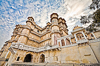 Exterior view of The City Palace, a fusion of the Rajasthani and Mughal architectural styles. (Photo by Matt Considine - Images of Asia Collection)