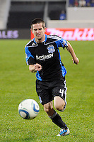 Sam Cronin (4) of the San Jose Earthquakes. The San Jose Earthquakes defeated the New York Red Bulls 3-1, (3-2) on aggregate during the 2nd leg of the Major League Soccer (MLS) Eastern Conference Semifinals at Red Bull Arena in Harrison, NJ, on November 04, 2010.