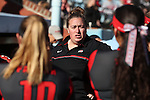 19 February 2017: OSU assistant coach Jenna Hall. The Ohio State University Buckeyes played the University of Louisville Cardinals at Anderson Family Softball Stadium in Chapel Hill, North Carolina as part of the ACC/Big 10 College Softball Challenge. OSU won the game 4-3.