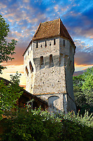 Defensive tower of Sighisoara Saxon fortified medieval citadel, Transylvania, Romania