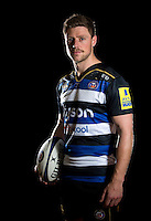 Rhys Priestland of Bath Rugby poses for a portrait in the 2015/16 home kit during a Bath Rugby photocall on December 1, 2015 at Farleigh House in Bath, England. Photo by: Patrick Khachfe / Onside Images