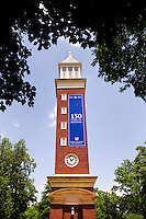 The iconic clock tower on the campus of Queens University of Charlotte.