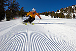 Tara Moore carving up the groomers at Mt. Rose Ski Tahoe...Photo by Scott Sady