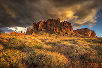 A winter storm moves over the Superstition Mountains at Lost Dutchman State Park, Arizona