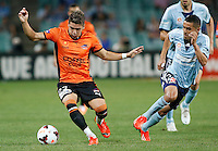 Brisbane Roar Dimitri Petratos (L) and Sydney FC Ali Abbas during their A-League match in Sydney, March 14, 2014. Photo by Daniel Munoz/VIEWPRESS EDITORIAL USE ONLY