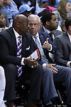 28 December 2016: UNC head coach Roy Williams (right) talks with assistant coach Steve Robinson (left). The University of North Carolina Tar Heels hosted the Monmouth University Hawks at the Dean E. Smith Center in Chapel Hill, North Carolina in a 2016-17 NCAA Division I Men's Basketball game. UNC won the game 102-74.