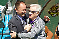Portland, OR - Saturday April 15, 2017: Mark Parsons, Tom Sermanni prior to a regular season National Women's Soccer League (NWSL) match between the Portland Thorns FC and the Orlando Pride at Providence Park.