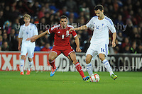 Hal Robson-Kanu of Wales battles with Tim Sparv of Finland during the Wales v Finland Vauxhall International friendly football match at the Cardiff City stadium, Cardiff, Wales. Photographer - Jeff Thomas Photography.  Mob 07837 386244. All use of pictures are chargeable.