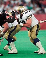 Miles Gorrell Winnipeg Blue Bombers 1992. Copyright photograph Scott Grant