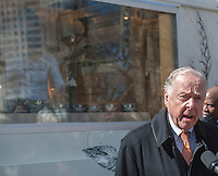 Energy executive T. Boone Pickens at the debut of the Neapolitan Express pizza food truck at City Hall Park in New York on Thursday, February 21, 2013. The truck is the first to run 100 percent on compressed natural gas, both preparation and engine operation, in a partnership with Clean Energy Fuels. The debut of the truck was hosted by New York Mayor Michael Bloomberg and energy executive T. Boone Pickens. (© Richard B. Levine)