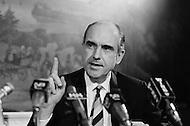 New York City, USA. 1968. Exiled Greek political leader and founder of PASOK (Panhellenic Socialist Movement) speaks at a press conference in New York City.