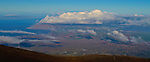 The view of Maui from atop 10,023 foot Haleakala Volcano Crater in the middle of the Pacific Ocean in Haleakala National Park on the Island of Maui, Hawaii. - Photo by Jim Urquhart/Straylighteffect.com<br />