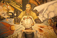 Man at the Crossroads mural by Diego Rivera, Palacio de Bellas Artes, Mexico. This mural is Diego Rivera's reproduction of Man, Controller of the Universe, a mural commissioned in 1933 for Rockefeller Center in New York City. The Rockefellers had the original mural covered up because of its anti-capitalist themes.