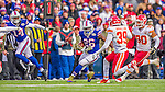 9 November 2014: Buffalo Bills running back Anthony Dixon rushes for a 27 yard gain against the Kansas City Chiefs in the third quarter at Ralph Wilson Stadium in Orchard Park, NY. The Chiefs rallied with two fourth quarter touchdowns to defeat the Bills 17-13. Mandatory Credit: Ed Wolfstein Photo *** RAW (NEF) Image File Available ***