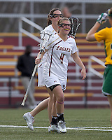 Boston College attacker Brooke Blue (4) celebrates her goal. Boston College defeated University of Vermont, 15-9, at Newton Campus Field, April 4, 2012.
