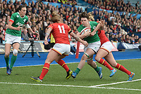 Ireland's Ciara Griffin is tackled by Wales' Dyddgu Hywel<br /> <br /> Photographer Ian Cook/CameraSport<br /> <br /> Women's Six Nations Round 4 - Wales Women v Ireland Women - Saturday 11th March 2017 - Cardiff Arms Park - Cardiff<br /> <br /> World Copyright &copy; 2017 CameraSport. All rights reserved. 43 Linden Ave. Countesthorpe. Leicester. England. LE8 5PG - Tel: +44 (0) 116 277 4147 - admin@camerasport.com - www.camerasport.com