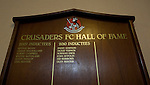 A wooden honours board on display in the old changing room area at Seaview Park, Belfast before Northern Irish club Crusaders take on Fulham in a UEFA Europa League 2nd qualifying round, fist leg match. The visitors from England won by 3 goals to 1 before a crowd of 3011.