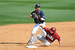 Alabama's Taylor Dugas (1) is forced out at second by Ole Miss' Blake Newalu (6) at Oxford-University Stadium in Oxford, Miss. on Sunday, March 20, 2011.  (AP Photo/Oxford Eagle, Bruce Newman)