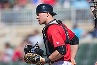 Kannapolis Intimidators catcher Nate Nolan (22) on defense against the Asheville Tourists at Kannapolis Intimidators Stadium on May 7, 2017 in Kannapolis, North Carolina.  The Tourists defeated the Intimidators 4-1.  (Brian Westerholt/Four Seam Images)