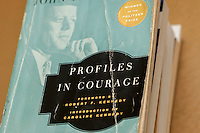 "A 50th anniversary paperback edition of ""Profiles In Courage"" (originally published in 1956) by John F. Kennedy is seen  in New York on Thursday, August 22, 2013. This year is the 50th anniversary of the November 22, 1963 assassination of Kennedy. (© Richard B. Levine)"