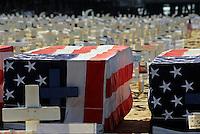Arlington, West, Memorial, Santa Monica, Beach, Ca, Veterans, Coffins, Wood, Cross, Star of David, crescents , and Flag, draped coffins, Los Angeles CA; Travel; Destination; View; Unique;