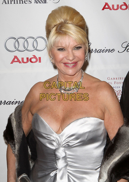 "IVANA TRUMP.Gabrielle's Angel Foundation for Cancer Research Celebrates Second Decade with ""Gabrielle's Gala"" Honoring Howard Lutnick held at Cipriani Wall Street, New York, NY, USA..October 22nd, 2008.half length silver strapless dress silk satin diamond necklace cleavage.CAP/ADM/PZ.©Paul Zimmerman/AdMedia/Capital Pictures."