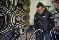 tire pressure is crucial for racing the cobbles, so every (spare) wheel is checked  for it in the morning<br /> <br /> 115th Paris-Roubaix 2017 (1.UWT)<br /> One Day Race: Compi&egrave;gne &rsaquo; Roubaix (257km)