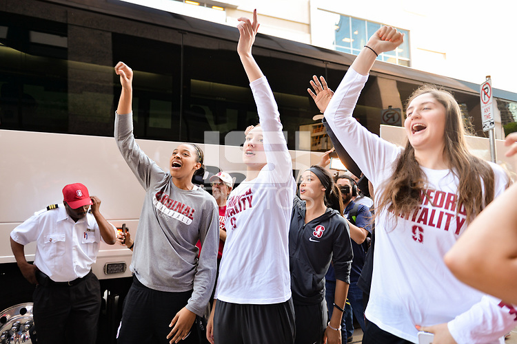 Dallas, TX - Friday March 31, 2017: Players, fans prior to the NCAA National Semifinal Game between the women's basketball teams of Stanford and South Carolina at the American Airlines Center.