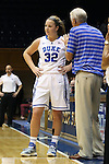 27 October 2013: Duke assistant coach Al Brown (right) talks to Tricia Liston (32). The Duke University Blue Devils played their annual preseason Blue White women's college basketball game at Cameron Indoor Stadium in Durham, North Carolina.