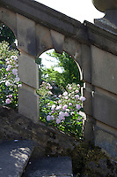 A pale pink rose (Rosa) grows through the balustrade and steps leading down to the Lower Garden