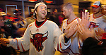 20 Oct 2006 Omaha NE University of Nebraska at Omaha's Brent Kisio greets fans in the lobby of the Qwest Center after defeating Niagara University during the first game of the Maverick Stampede hockey tournament at the Qwest Center Omaha Friday night.(photo by Chris Machian/Prairie Pixel Group)UNO won in the first game of the Maverick Stampede.