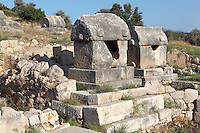 Lycian tombs at Tepecik Necropolis on Tepecik Hill, Patara, Antalya, Turkey. The necropolis sits on a Neolithic mound dating to the 7th century BC and contains a whole range of tomb types dating from the 5th century BC, including temple tombs, monumental tombs, temenos tombs, U-shaped altar tombs, chamber tombs, rock-cut tombs, underground chamber tombs, pithos burials, simple burials and sarcophagi. Patara was a maritime Greek and Roman city on the South West Mediterranean coast of Lycia near modern-day Gelemis. It was said to be founded by Patarus, son of Apollo, and was famous for its temple and oracle of Apollo. It was a leading city of the Lycian League. Picture by Manuel Cohen