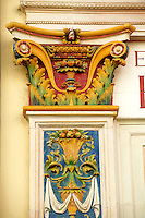Zsolnay architectural features on the old Zoltan Csukas furniture shop Pecs ( Pécs ) - European Cultural City of The Year 2010 , Hungary