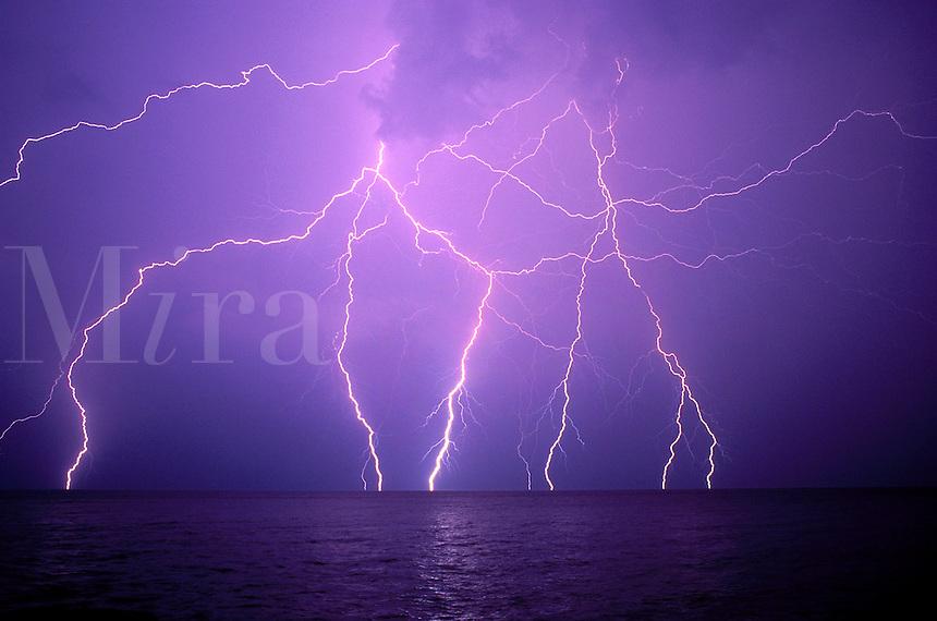 Canada, Ontario. Lighting over Lake Ontario<br />