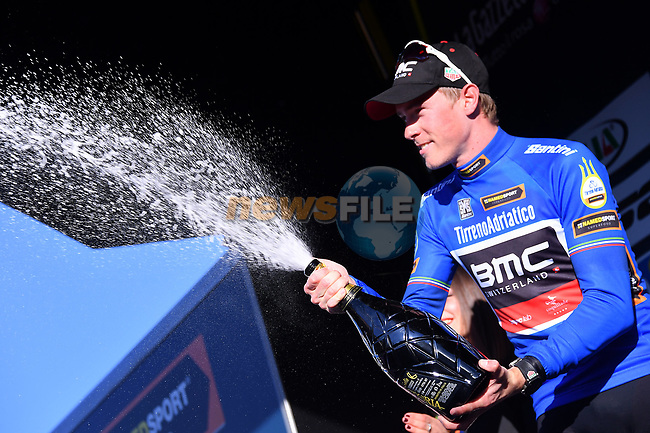 Rohan Dennis (AUS) BMC Racing Team wears race leaders Maglia Azzurra at the end of Stage 3 of the 2017 Tirreno Adriatico running 204km from Monterotondo Marittimo to Montalto di Castro, Italy. 10th March 2017.<br />