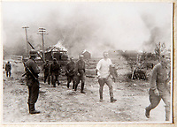 BNPS.co.uk (01202 558833)<br /> Pic: Dickins/BNPS<br /> <br /> Operation Barbarossa - Russian prisoners from a burned village.<br /> <br /> The unseen personal photo album of Field Marshal Wolfram von Richthofen, cousin to the legendary Red Baron, which gives an unprecedented insight into his military career in the Third Reich, has been rediscovered.<br /> <br /> Wolfram served in the Red Baron's squadron in the WW1, went on to design the 'Jericho trumpet' of the infamous Stuka Bomber between the wars, before leading the Condor Legion in the Spanish Civil War.<br /> <br /> After the outbreak of WW2 the fascinating album shows Richthofen's lead roll in Operation Barbarossa - the Nazi's suprise invasion of Communist Russia and their race to conquer the vast country before the onset of the notorious Russian winter.<br /> <br /> The two albums were taken from Berlin by a British soldier at the end of the Second World War who kept it for 60 years before it was passed into the hands of a private collector.<br /> <br /> Dickins auctions are selling the historic albums with a &pound;20,000 estimate on 31st March.