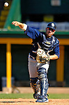 12 July 2007: Mahoning Valley Scrappers catcher Michael Valadez warms up prior to a game against the Vermont Lake Monsters at Historic Centennial Field in Burlington, Vermont. The Scrappers defeated the Lake Monsters 11-2 in the first game of their NY Penn-League double-header...Mandatory Photo Credit: Ed Wolfstein Photo