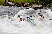 Rafting in Strandaelva. The Extremesport Week, Ekstremsportveko, is the worlds largest gathering of adrenalin junkies. In the small town of Voss enthusiasts in a varitety of extreme sports come togheter every summer to compete and play.© Fredrik Naumann