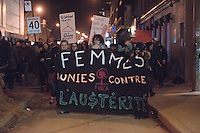 Montreal, CANADA, March 31, 2015. <br /> <br /> Feminist demonstration in downtown Montreal<br /> <br />  Photo : Philippe Manh Nguyen - Agence Quebec Presse