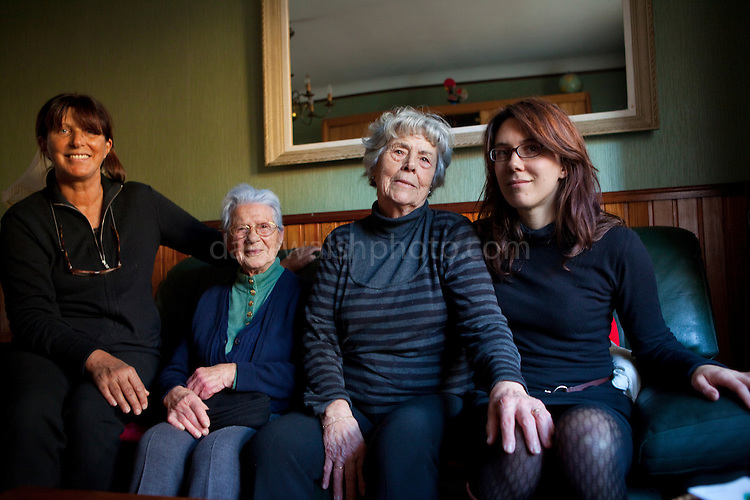 Three generations of the Verdié women, Perpignan, December 2011. L-R, Reneé, Tata Marie, Mathilde, Nathalie
