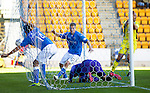 St Johnstone v St Mirren....04.10.14   SPFL<br /> The ball is in the net from Brian Graham but the referee gives afoul on the keeper Marian Kello<br /> Picture by Graeme Hart.<br /> Copyright Perthshire Picture Agency<br /> Tel: 01738 623350  Mobile: 07990 594431