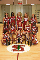 6 October 2005: Photo of the team with the national championship trophy: Morgan Clyburn, Kristen Newlin, Shelley Nweke, Brooke Smith, Jillian Harmon, Christy Titchenal, Cissy Pierce, Rosalyn Gold-Onwude, Krista Rappahahn, Candice Wiggins, Clare Bodensteiner, Eziamaka Okafor, and Markisha Coleman at the Arrillaga Family Sports Center in Stanford, CA. (not in order)