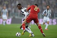 FUSSBALL  CHAMPIONS LEAGUE  VIERTELFINALE  RUECKSPIEL  2012/2013      Juventus Turin - FC Bayern Muenchen        10.04.2013 Paul Pogba (li, Juventus Turin) gegen Javi Martinez (re, FC Bayern Muenchen)