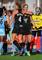 Rachel McCann and Olivia Meery celebrate a goal during the international hockey match between the Blacksticks Women and India, Rosa Birch Park, Pukekohe, New Zealand. Sunday 14  May 2017. Photo:Simon Watts / www.bwmedia.co.nz