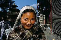 A banana salesgirl for the holy monkeys at Durbar square in Kathmandu City, Nepal