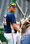 3 July 2009: Washington Nationals' outfielder Adam Dunn awaits his turn in the batting cage prior to facing the Atlanta Braves at Nationals Park in Washington, DC. The Braves defeated the Nationals 9-8 to take the first game of the 3-game weekend series. Mandatory Credit: Ed Wolfstein Photo